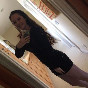Bloomingdale's / Aqua black sequin dress
